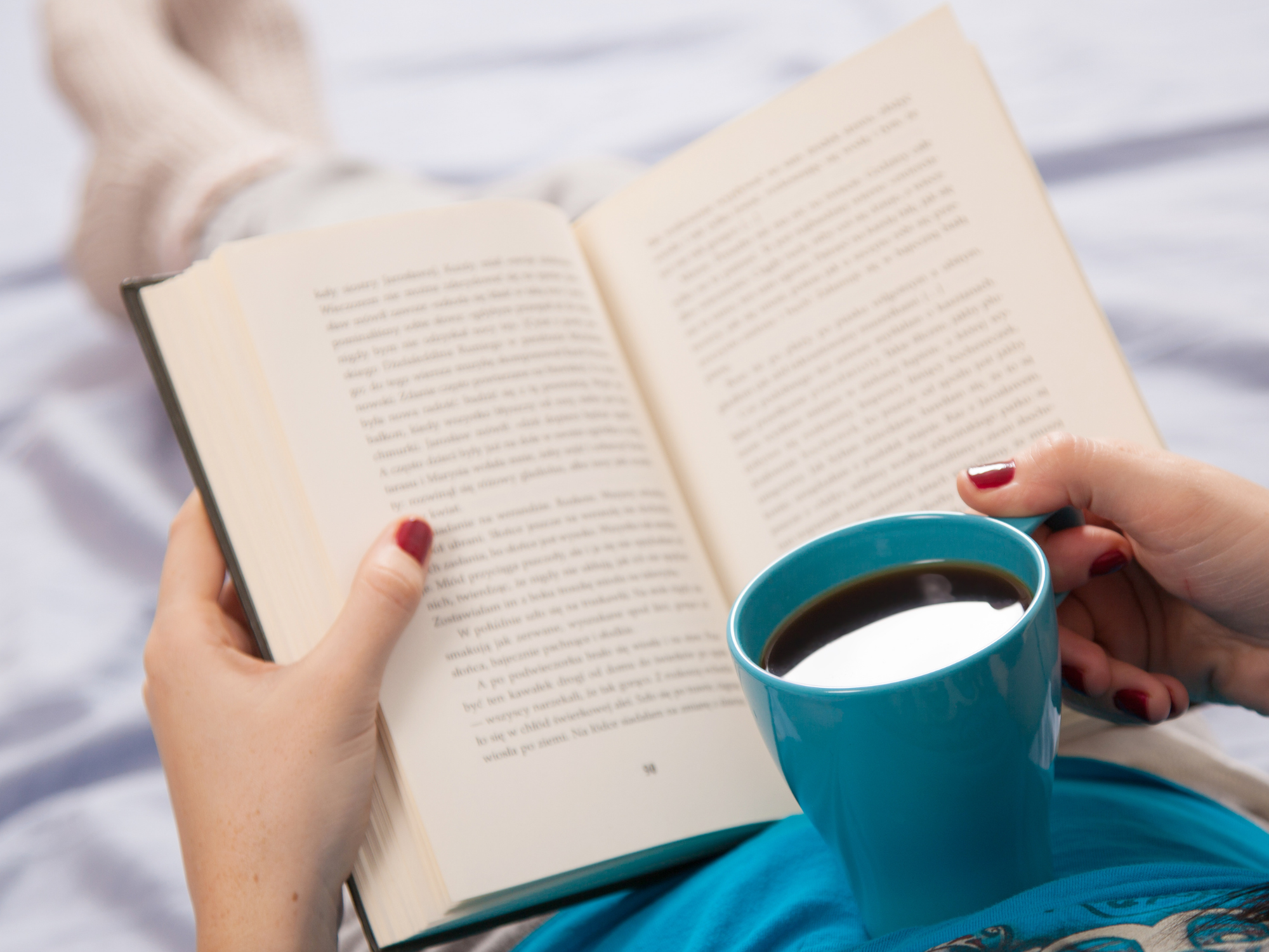 Book and coffee for social media breaks